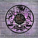 Reloj De Pared De Vinilo Registros Vintage Reloj De Pared, Decoración Hecha A Mano Barber Modern Vinyl Wall Design, Para Barbería Barba Barbería Salón De Belleza (Con LED)