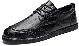 Xujw-shoes, Mens Loafers Leather Black Brown Shoes for Men Formal Shoes Lace Up Style Microfiber Leather Fashion Wingtip Captoe Casual Loafers Shoes Lightweight