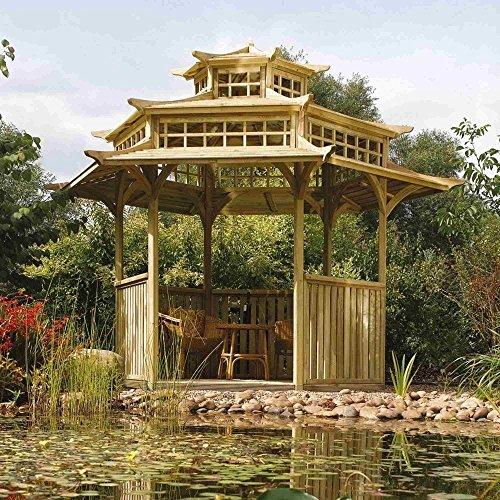 Rowlinson Oriental Pagoda Gazebo, Sunshade, Garden, Natural