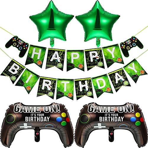 Videospiel Party Zubehör, enthält 2 Stücke 23,6 x 15,7 Zoll Game On Luftballons Spieler Thema Ballon 2 Stücke 18 Zoll Stern Aluminium Folien Ballon und 1 Happy Birthday Banner für Geburtstag