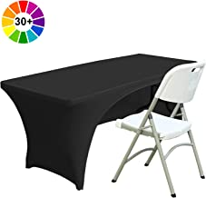ABCCANOPY 30+ Colors Spandex Table Cover 6 ft. Fitted Polyester Tablecloth Stretch Spandex Tablecover-Table Toppers(Open Back Black)