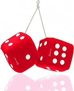 Zento Deals Pair of Hanging Red Fuzzy Dice with White Dots