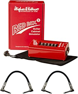 """Hughes & Kettner Red Box 5 Guitar Cabinet Simulator with 6"""" Patch Cable R Angle (2-Pieces) Bundle"""