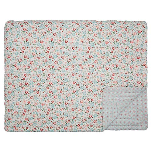 GreenGate Quilt Merla Blau Rot 140x220 Tagesdecke Baumwolle Decke Überwurf