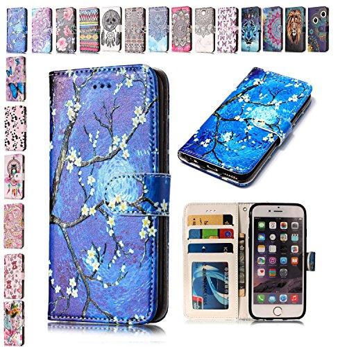 E-Mandala Funda Samsung Galaxy S7 Edge Piel Carcasa con Tapa Libro PU Cuero Leather Silicona Bumper Case Completa Protectora Folio Tarjetero - Azul Flor de Cerezo