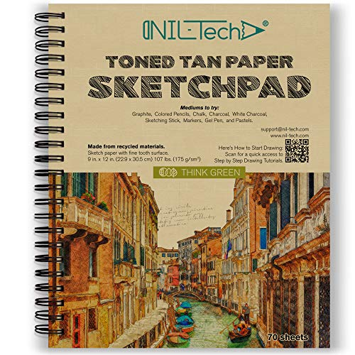 Toned Tan Sketch Book - 9x12 Inches 70 Sheets (107 lb/175gsm) Fine Tooth Spiral Bound Drawing Paper Pad for Kids and Adults