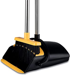 Broom and Dustpan Set for Home, Tiumso Dust Pan and Broom Comb, Broom with Dustpan Long Handle , Upright Standing Dustpan ...