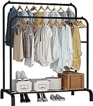 UDEAR ZHUJIA Garment Vrijstaand Hanger Dubbele Staven Multi-Functionele Slaapkamer Kledingrek, Zwart