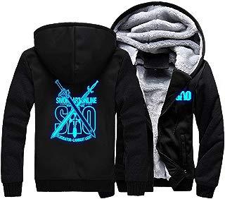 Anime SAO Jacket Unisex Fleece Thick Hoodie Kirito Coat Costume for Sword Art Online