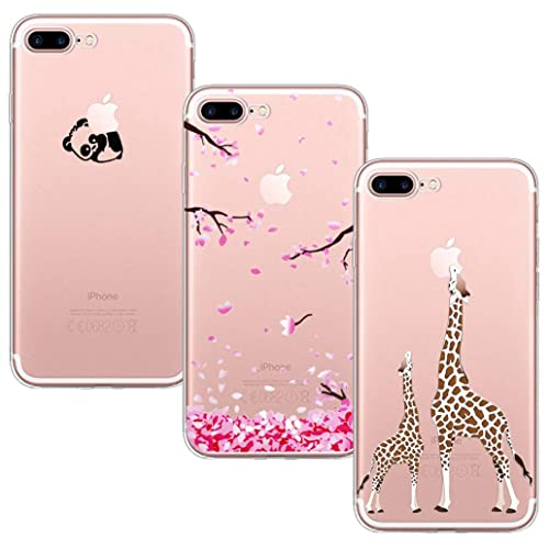 9cd7c2e582 Yoowei 3-Pack iPhone 7 Plus/ 8 Plus Case, Crystal Clear Soft Silicone