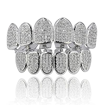 JINAO 18k Gold Plated All Iced Out Luxury CZ Gold Grillz Set with Extra Molding Bars Included (Silver Set)