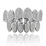 JINAO 18k Gold Plated All Iced Out Luxury Cubic Zirconia Face Diamond Gold Teeth Grillz Set with Extra Molding Bars Included for Men Women(Classic Set) (Silver Set)