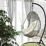Poltrona sospesa imbottita, poltrona a uovo sospesa, cuscino per sedia sospesa a forma di uovo da giardino, 90 x 120 cm J