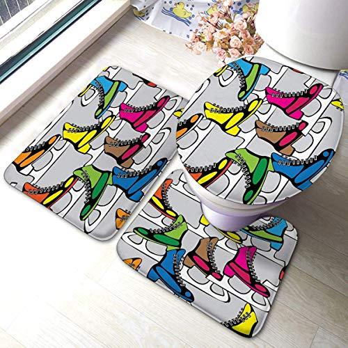 Comfort Flanell Badteppich Matten Set 3-teilige farbige Schlittschuhe für Eiskunstlauf Anti-Rutsch-Pads Badematte