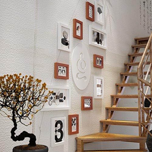 Everyday home 12 Multi cadres photo mis en bois de pin mur moderne photo photo mur cadre pour salon/avec des images/thème zen (Couleur : B)