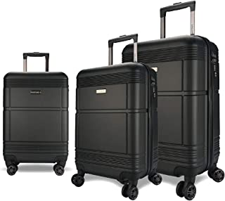 EAGLEMATE 3pc Luggage Suitcase Trolley Set TSA Travel Carry On Hard Case Soft Lightweight (Black)