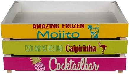 Preisvergleich für Objektkult Holz Tablett 'Cocktails' im Retro-Look. Serviertablett im Vintage-Stil. Maße je Tablett: (HxBxT): 6,3 x 40 x 30 cm. 3 Farben: Pink, Gelb, Grün, Farbe:gelb