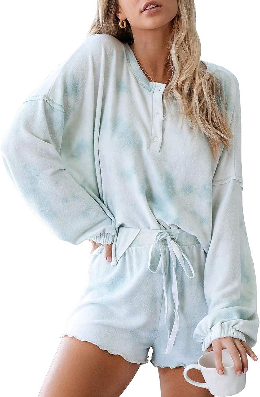 LAMISSCHE Womens Tie Dye Pj Sets Button Clearance SALE! Limited time! Long Bargain sale Sleeve Shirt Drawst