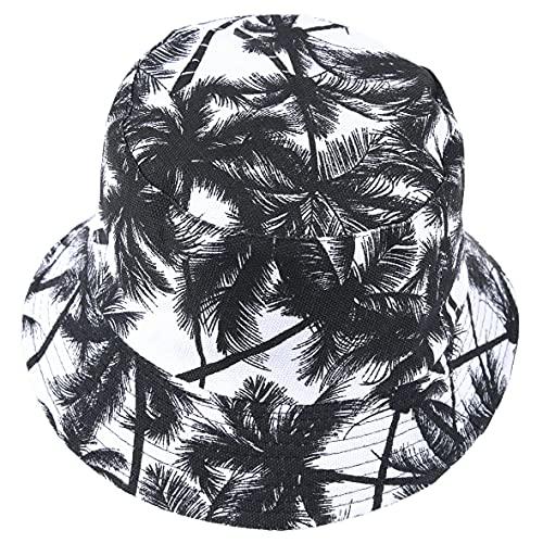 Hombres Verano Reversible Cubo Sombreros - Mujer Funky Fruta Impresión Pescador Plegable Cubeta Gorra (Hoja-Negro)