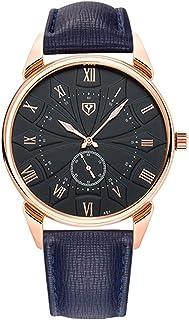 Songlin@yuan 451 Men's Fashion Business Quartz Watch, PU Leather Strap, Light Point, Black Dial Fashion (Color : Blue)