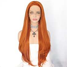 QD-Udreamy Natural Long Orange Color Synthetic Lace Front Wigs With Natural Hairline Heat Resistant Hair High Density Synthetic Wigs for Women
