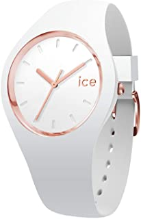 Ice-Watch - Ice Glam White Rose-Gold - Montre Blanche pour Femme avec Bracelet en Silicone - 000978 (Medium)