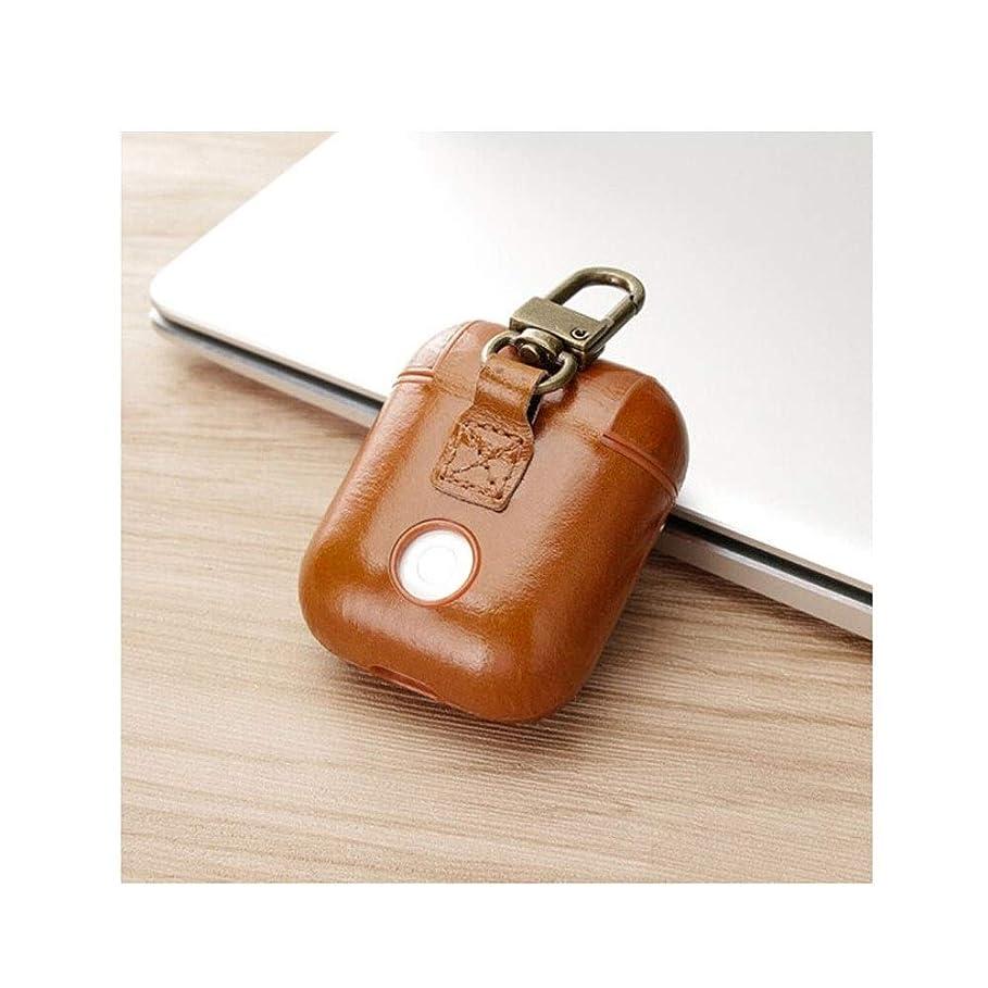 怪しい独占肥料LHSY ヘッドフォンカバー、Airpods1 / 2世代保護カバー、健康的で環境に優しい、スタイリッシュなデザイン(黒/赤) (Color : Brown)