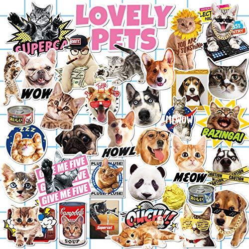 XXCKA 33 Lindo Animal Gato Cachorro Maleta Etiqueta de Equipaje Impermeable Desgaste Etiqueta de la Caja de la Tarjeta de Humedad