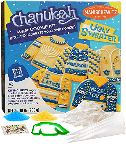 Manischewitz Chanukah Ugly Sweater Cookie Decorating Kit | Delicious, Easy to Prepare, Certified Kosher, Fun Hanukkah Activity for the Whole Family!