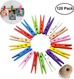 Hapdoo 120 Pack Colored Wooden Clothespins Clothes Pegs with Spring - Mini Photo Clips Paper Pegs Craft Pin with 132 Feet Jute Twine