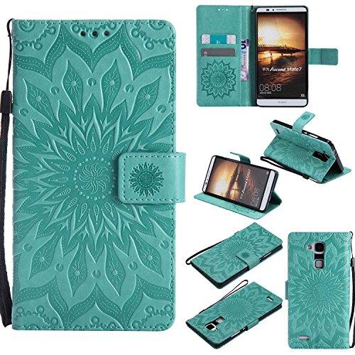 pinlu® PU Leder Tasche Etui Schutzhülle für Huawei Ascend Mate 7 (6 Zoll) Lederhülle Schale Flip Cover Tasche mit Standfunktion Sonnenblume Muster Hülle (Grün)