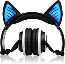 [Upgrade] Kids Headphones, Cat Ear Wireless Headphone, USB Rechargeable&LED Light Up Foldable Wireless/Wired Over-Ear Headset,Volume Limiter for Girls Boys Children Compatible with Phones PC Tablet