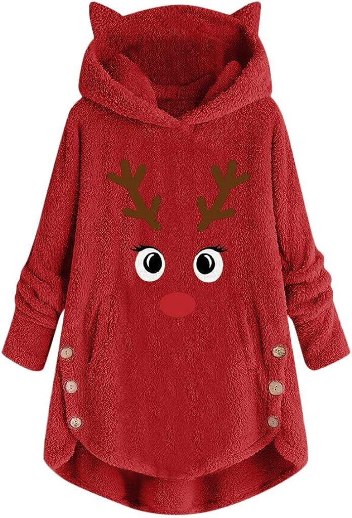 SOMESHINE Faux Fleece Jacket Women Fur Coat with Hood Winter Warm Teddy Bear Outwear Christmas Loose Button Coat Plus Size