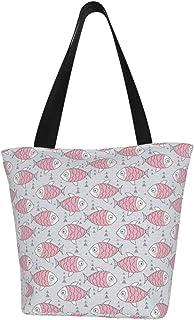 Lesif Einkaufstaschen, rosa Fisch auf grauem Segeltuch, Schultertasche, wiederverwendbare faltbare Reisetasche, groß und langlebig, robuste Einkaufstaschen