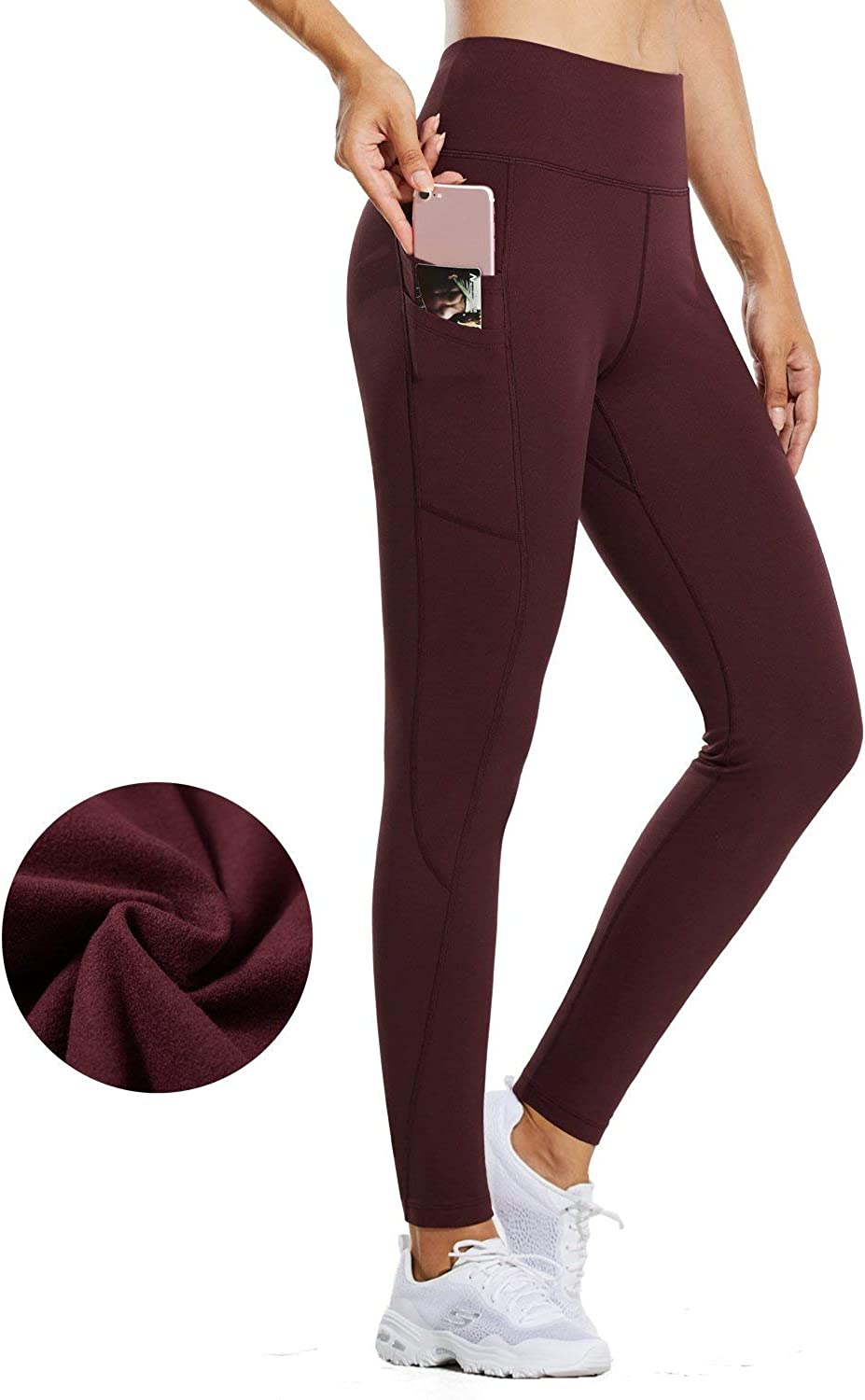 BALEAF Womens Fleece Lined Water Resistant Legging High Waisted Thermal Winter Hiking Running Tights Pockets