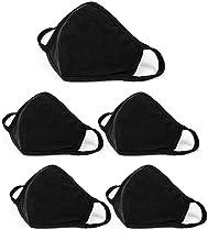 5 pcs Fashion Protective Unisex Black Dust Cotton Washable Reusable Cotton Fabric