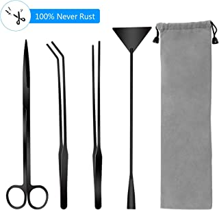 Liveek Aquarium Aquascape Tools Kits, 4 in 1 Anti-Rust Aquatic Plant Aquascaping Tool Stainless Steel Black Tweezers Scissors Spatula for Aquarium Tank Clean Aquascape Tools Sets (Black)