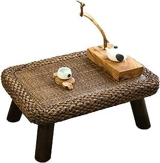 Table Ronde Japonaise en Bois Massif Table Basse en Rotin Cr/éAtive Table De Loisirs pour Salon avec Balcon Table De D/éCoration