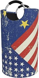 Panier à linge rond, drapeau américain EU Panier à linge Seau à vêtements pliable Bacs de rangement pour sac de rangement ...