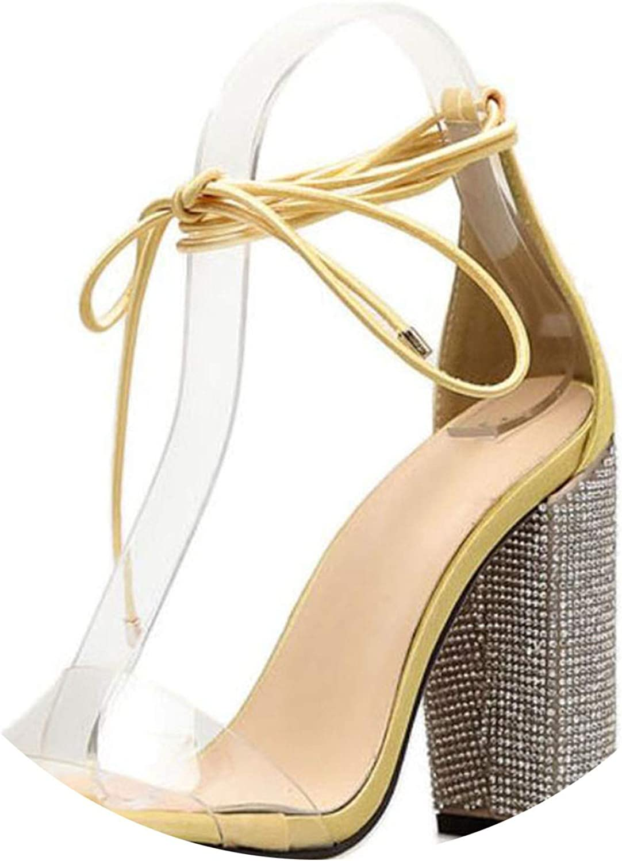 Women High Heels Sandals Summer Square Heels Crystal Heeled Platform shoes