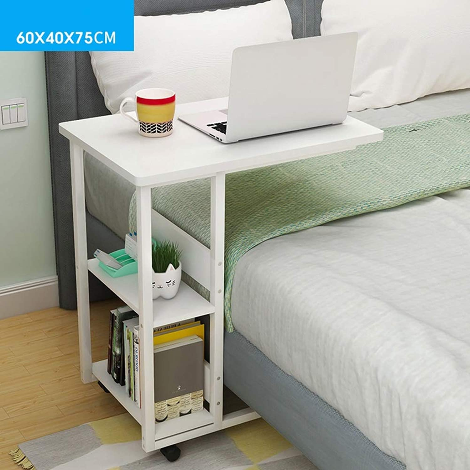 Coffee Table Side Table, Simple Desk It Can Move Computer Desk Lazy Bedside Table, Dorm Room Bedroom (color   Warm White, Size   60  40 cm)