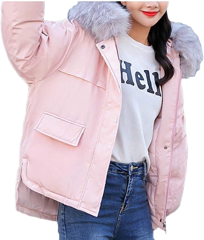 Omniscient Women Winter Thicken Fur Hooded Slim Casual Short Cotton Down Jacket Coat