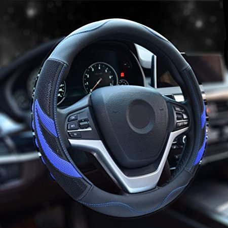 15 inch Blue Leather Steering Wheel Cover