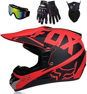 Fox Motocross-Helm, MX-Helm, Motorradhelm, ATV, Mit Brille/Maske/Handschuhe,Für Quad ATV Enduro Motorradhelm, DOT Zertifizierung