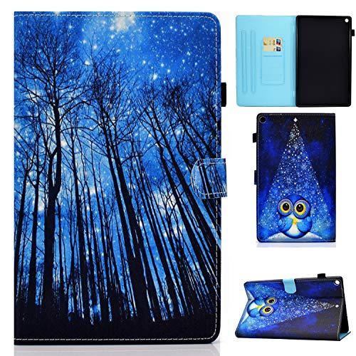 EC-Touch Case for Amazon Fire HD 8 Tablet (8th/ 7th Generation, 2018 and 2017 Releases) - Slim Premium Leather Standing Protective Case Cover with Auto Wake/Sleep (Birch Forest)