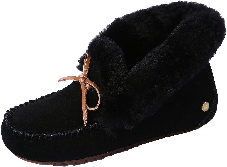 U-lite Women's Warm Fur Wool Slipper Casual Winter Slouch Flat Indoor&Outdoor Loafer