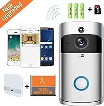 JXWWN Wireless Doorbell WiFi Smart Video Doorbell 720P HD Smart Security Camera Doorbell with Realtime Push Alerts Watchdog Surveillance System Night Vision 3pcs Batteries 16G SD Card.