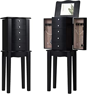 """GOFLAME Jewelry Chest Armoire Cabinet Standing with Mirror, Wood Large Ring Necklace Storage Box Top Flip Makeup Mirror Classic 33"""" Tall, Bedroom Jewelry Storage Organizer 5 Drawers, Black"""