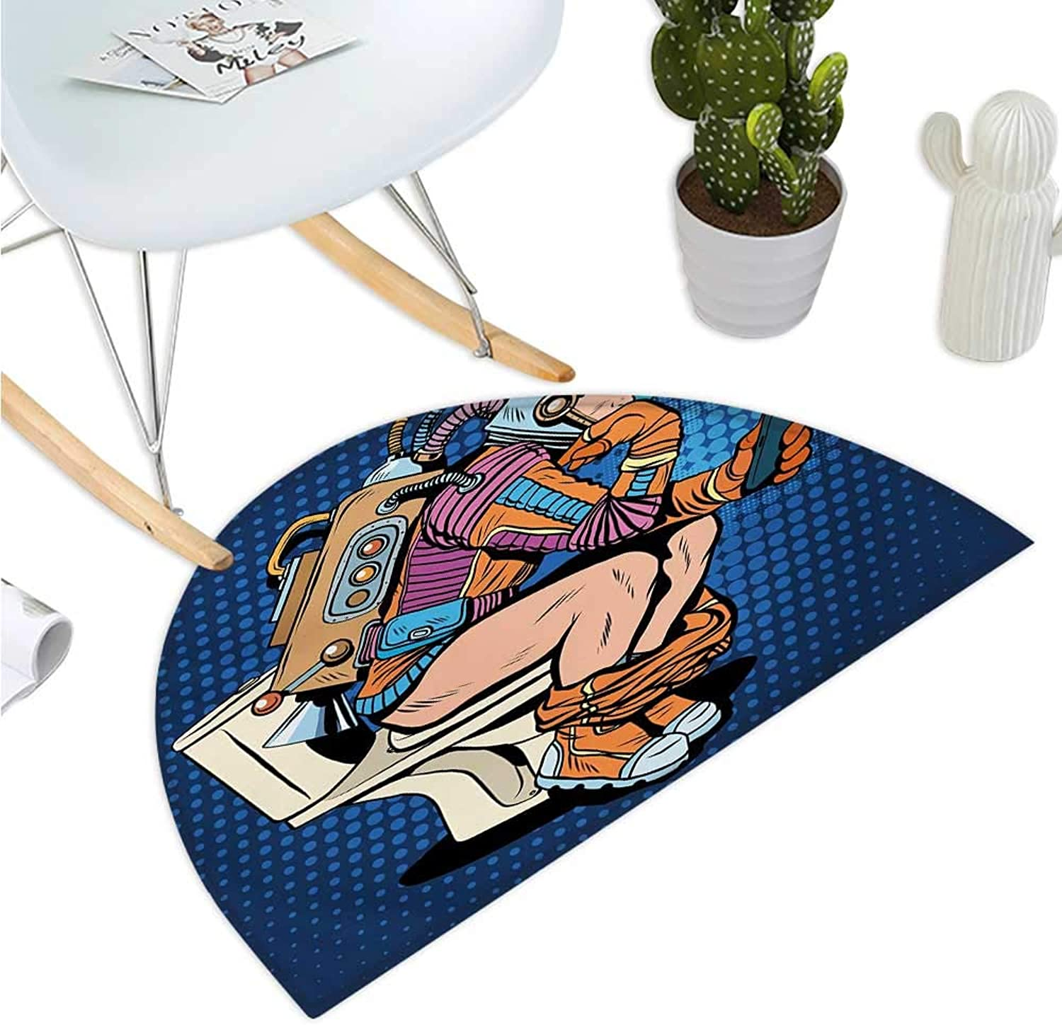 Astronaut Semicircle Doormat Futuristic Thinking Man with Smartphone on Toilet Wasting Time Playing Halfmoon doormats H 35.4  xD 53.1  Dark bluee Multicolor