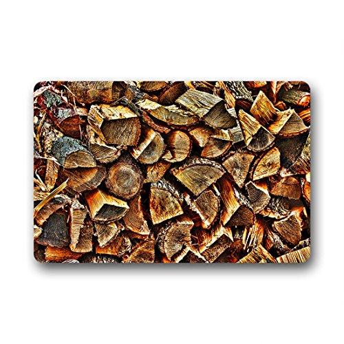Doubee Bois Wood Paillasson Premium Tapis Anti-Poussière Paillasson rectangulaire en Jardin après la Maison 60 cm x 40 cm, Tissu, E, 23.6\
